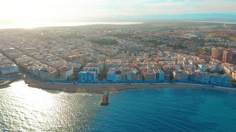 aerial view of beach and coast, Costa blanca coast, sunset Live Action
