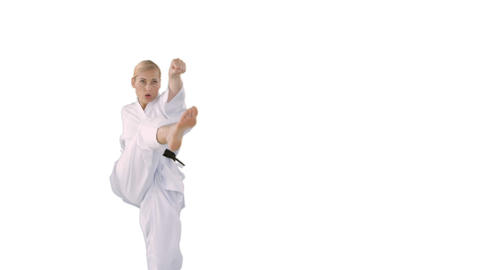 Front view of sportswoman is practising martial art Footage