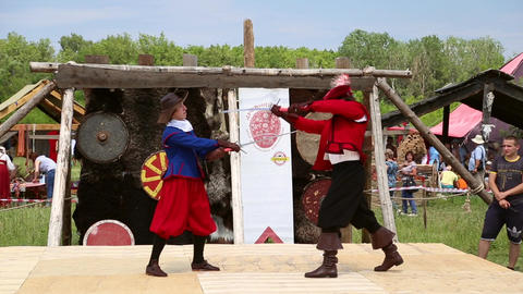 Medieval warriors trained in combat with swords Footage