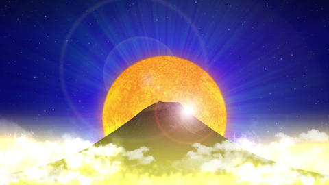 Mount Fuji Japan, rising sun, Mountain, blue Animation