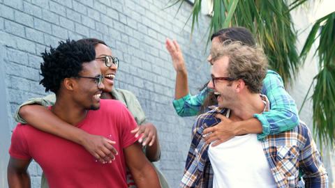 Young hipsters are having fun Stock Video Footage
