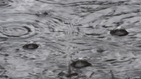 Splashes of water forming bubbles when they fall in a pool formed by cold spring Live Action