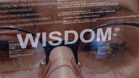 Wisdom text on female software developer Live Action