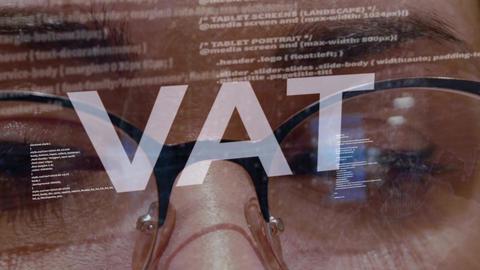 VAT text on female software developer Footage