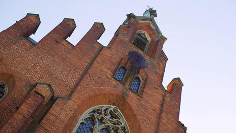 Broken Gothic Window of Abandoned Red Brick Church, Gothic Old Catholic Church Live Action