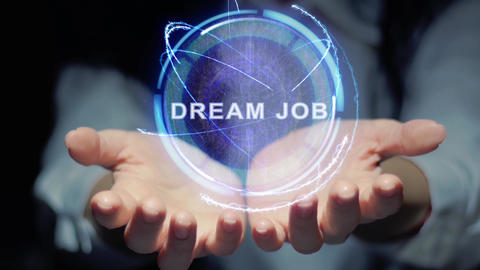 Hands show round hologram Dream job Footage