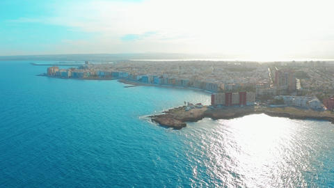 aerial view of beach and coast, Costa blanca coast Live Action