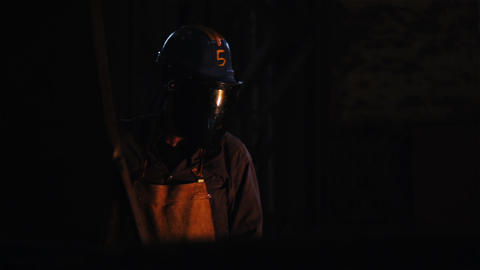 Foundry Worker With Special Protective Suit Near Furnace Footage