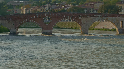 Old Stone Bridge Over the River Footage