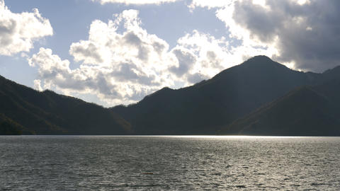Beautiful Mountain and lake with sunlight Footage