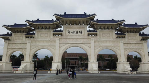 Tourists at chiang kai-shek memorial hall in Taipei, Taiwan Footage