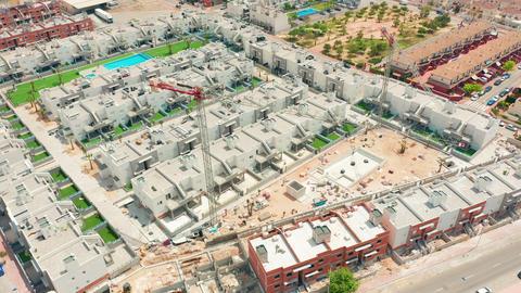 Aerial view. big construction crane, close up. Construction crane on a building Live Action