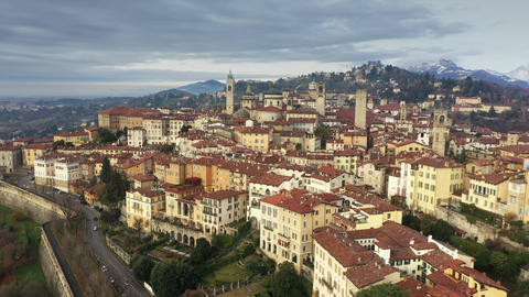 Aerial shot of historic part of Bergamo. Italy Footage
