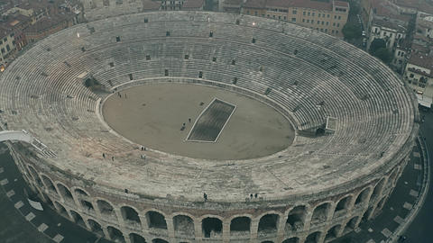 Aerial view of Arena di Verona, a major landmark of Verona. Italy Live Action