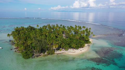 Tropical island paradise - Aerial drone video from French Polynesia, Tahiti Footage