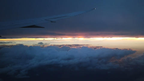 Above morning clouds from airplane Archivo