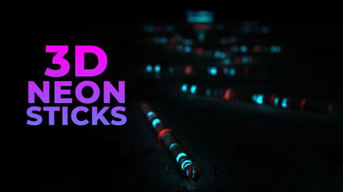 3D Glow Sticks Logo Reveal After Effects Template