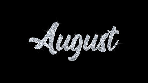 August Blinking Text Wishes Particles Greetings, Invitation, Celebration Footage
