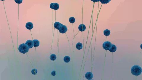 Blue Flowers Futuristic Animation