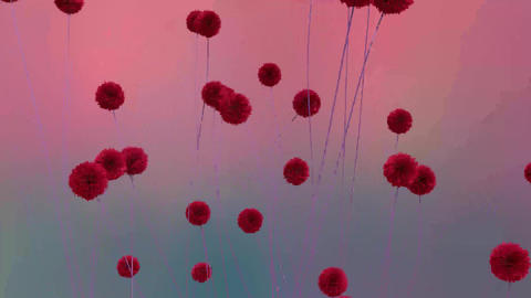 Red Flowers Futuristic Animation