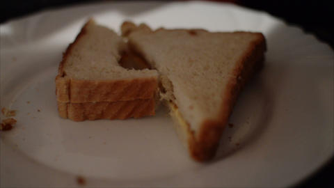 Eating A Tasty And Delicious Sandwich. Close Up Of Food Footage