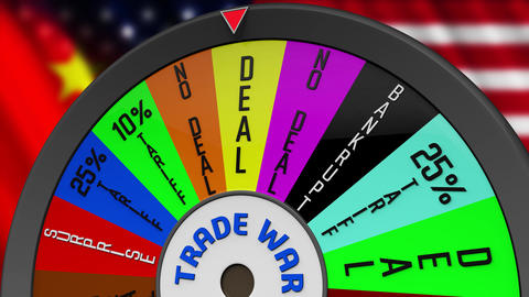 4K US China Trade War Wheel Stopping on NO DEAL Animation