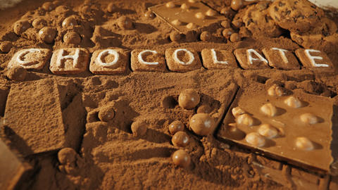 Chocolate message on the cocoa background Live Action