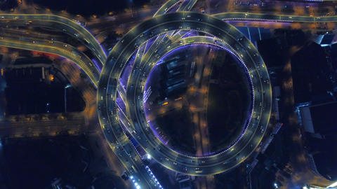 Aerial view of roundabout of Nanpu Bridge, Shanghai Downtown, China. Financial district and business Live Action