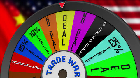 4K US China Trade War Wheel Stopping on DEAL Animation