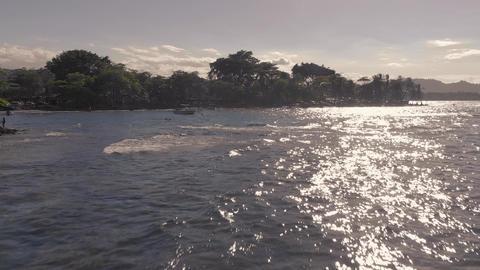 Flight over Costa Rica coast line - Caribbean sea site Live Action