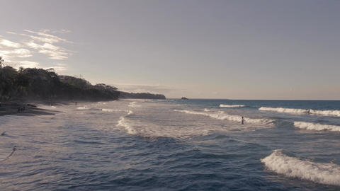 Flight over beautiful lonely coast beach in Costa Rica Live Action