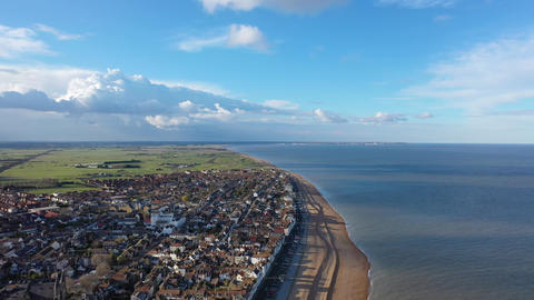 Aerial view of Deal pier, Deal, Kent, UK Live Action