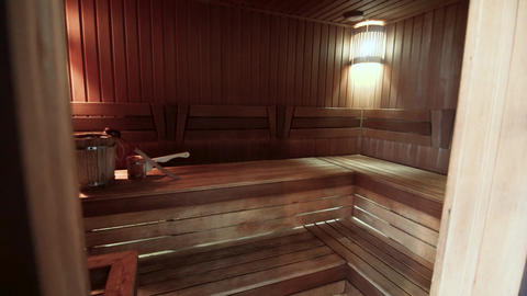 Russian wooden sauna in the spa center Live Action