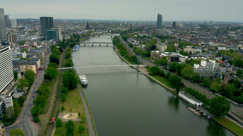 Aerial view of the River Main within Frankfurt am Main limits, Germany Live Action