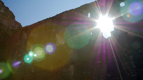 Sunlight through the hole in the castle wall Footage