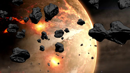 Collapse of the giant asteroid Animation