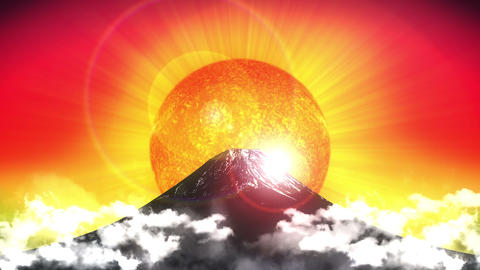 Mount Fuji Japan, sunset, Mountain, red Animation