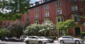 Typical Red Brick Apartment Buildings in Downtown Boston Footage