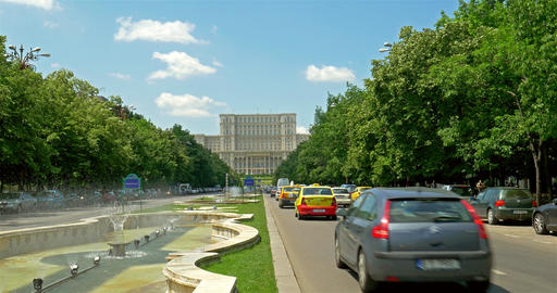 Union Square Fountain And House Of The People Or Parliament Palace In Bucharest Footage