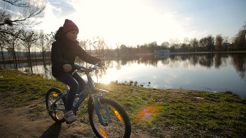 Young Girl Riding the Bike 3 Footage