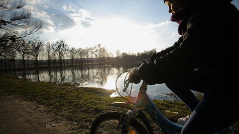 Young Girl Riding the Bike 4 Footage