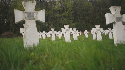 Cemetery of white military crosses 4 Footage