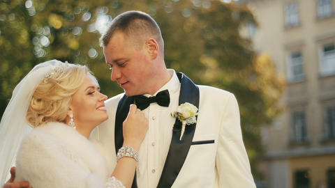 Beautiful Wedding Couple Lovely Embraces Footage