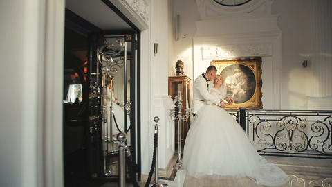 Bride and groom wedding palace interior 4 Footage