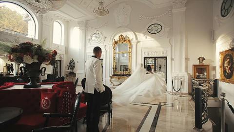 Bride Spining around with bridal veil Footage