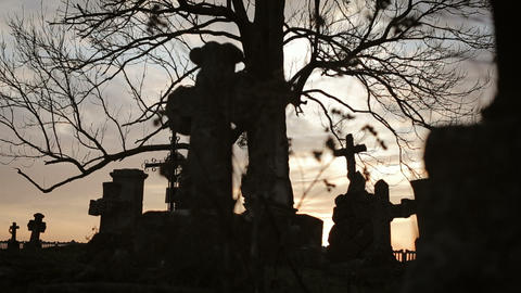 Old Graveyard with Ancient Crosses 5 Footage