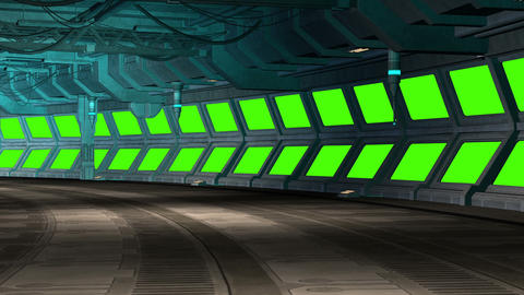 Green screen background video spaceship room Animation