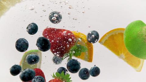 Colorful Mixed Fruits Refreshing Splash Footage