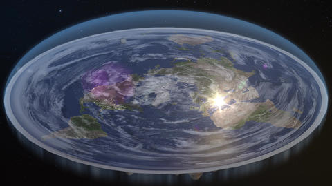 Flat Earth Diagram Fly by Animation Live Action