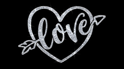 Love Heart Blinking Text Wishes Particles Greetings, Invitation, Celebration Live Action